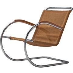 Bas Van Pelt Original Sisal and Tubular Armchair with Wooden Armrests