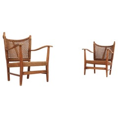 Bas Van Pelt Pair of Lounge Chairs in Rope and Oak
