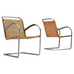 Bas van Pelt Pair of Patinated Tubular Armchairs in Metal, Sisal and Wood