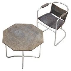 Bas van Pelt Patinated Armchair and Coffee Table in Metal and Original Sisal