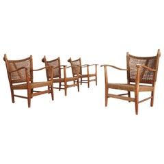 Bas Van Pelt Set of Four Oak and Cord Armchairs