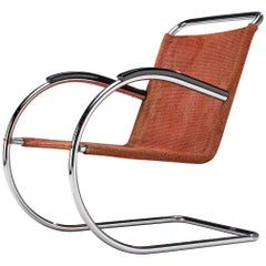 Bas Van Pelt Tubular Cantilever Lounge Chair with Red Sisal Seating