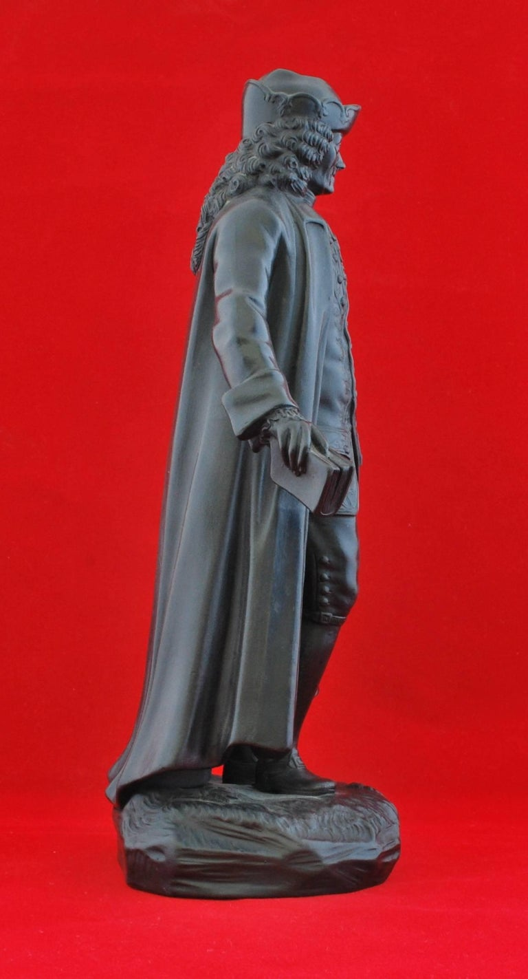Neoclassical Basalt Figure, Voltaire. Wedgwood, circa 1820 For Sale