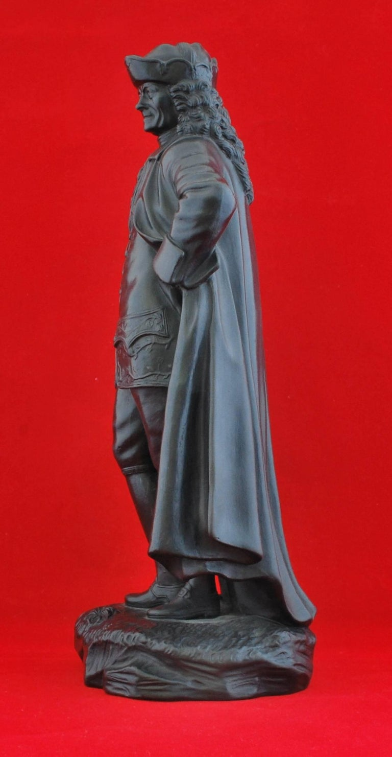 Molded Basalt Figure, Voltaire. Wedgwood, circa 1820 For Sale