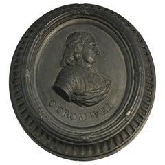 Basalt Portrait Medallion, Oliver Cromwell, Wedgwood, circa 1775