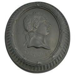 Basalt Portrait Medallion, Tiberius Augustus, Wedgwood, circa 1775