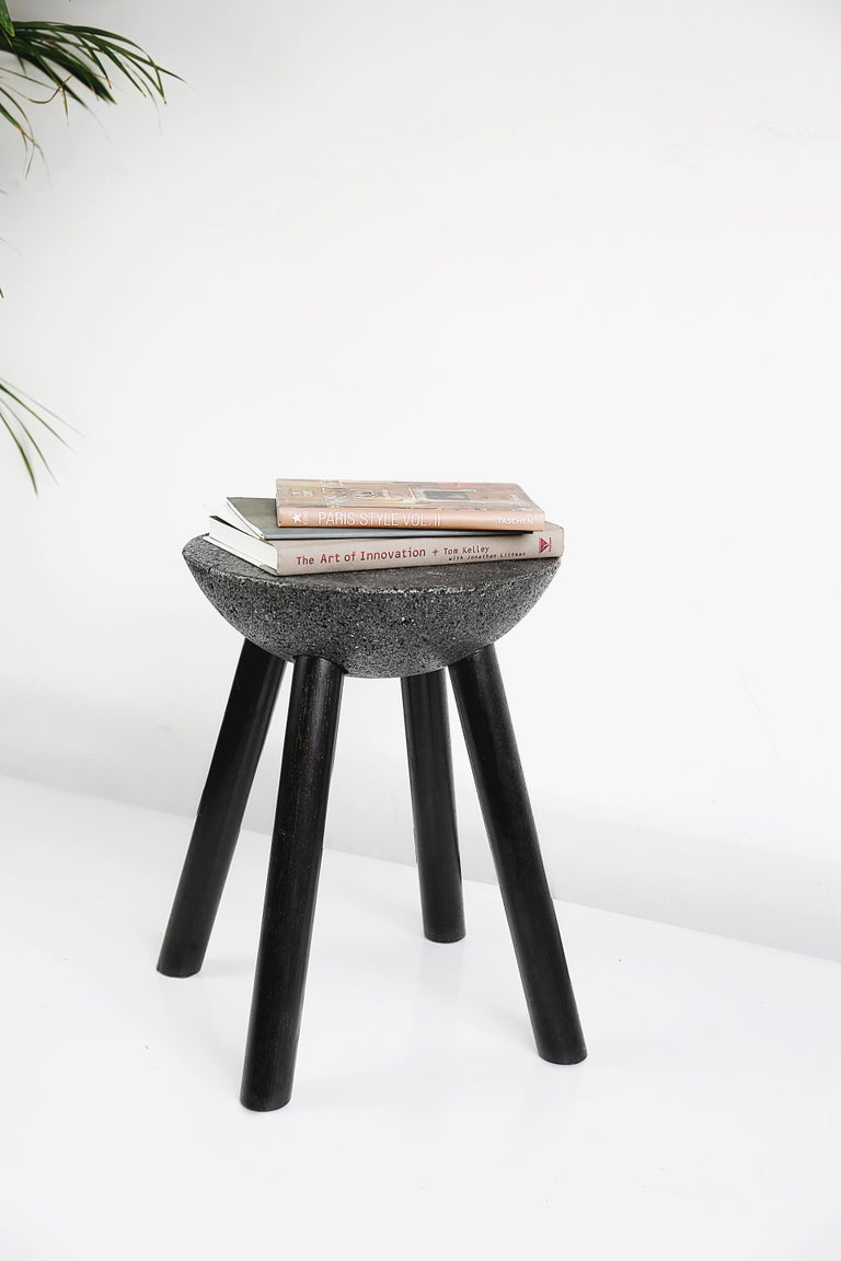 Mexican Black Stool with Wooden Legs and Basalt Seat by Cooperativa Panorámica  For Sale