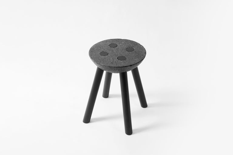 Contemporary Black Stool with Wooden Legs and Basalt Seat by Cooperativa Panorámica  For Sale