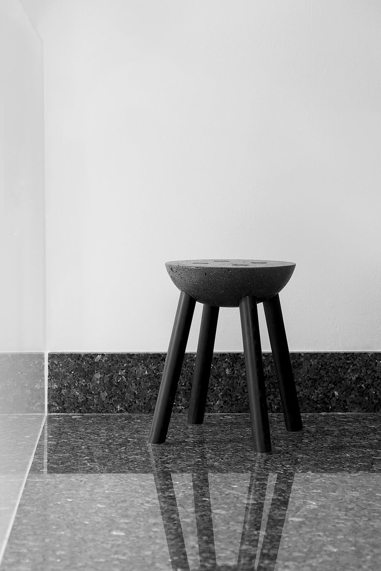 Stone Black Stool with Wooden Legs and Basalt Seat by Cooperativa Panorámica  For Sale