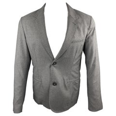 BASCO Size M Gray Wool Blend Notch Lapel Sport Coat