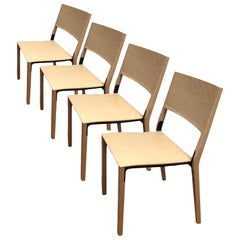 Base, 4-Set Dietiker Wood Dining Chair, Natural by Greutmann Bolzern, in Stock