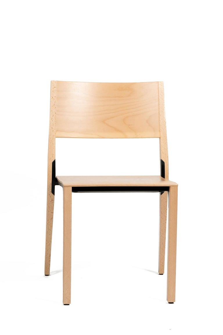Modern Base, 6-Set Dietiker Wood Dining Chair, Natural by Greutmann Bolzern, in Stock