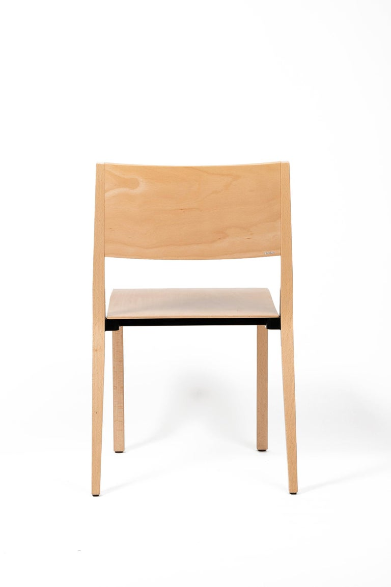 Hungarian Base, 6-Set Dietiker Wood Dining Chair, Natural by Greutmann Bolzern, in Stock