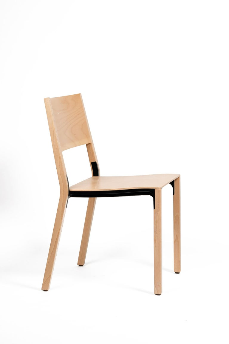 Base, 6-Set Dietiker Wood Dining Chair, Natural by Greutmann Bolzern, in Stock In New Condition In Encino, CA