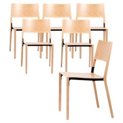 Base, 6-Set Dietiker Wood Dining Chair, Natural by Greutmann Bolzern, in Stock