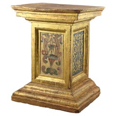 Base or Pedestal, Polychromed and Gilded Wood, 16th Century