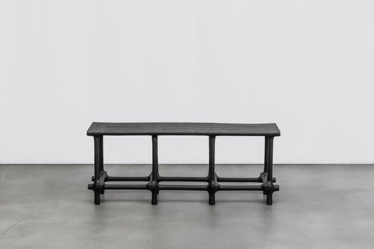 Basic bench by HWE Limited Edition Materials: Waste SLS 3D nylon powder, Sand from sustainable sources Dimensions: H 48 x W 120 x D 34 cm  Colours: black, white, cream, terracotta, mint  Hot wire extensions is a young sustainable design brand,