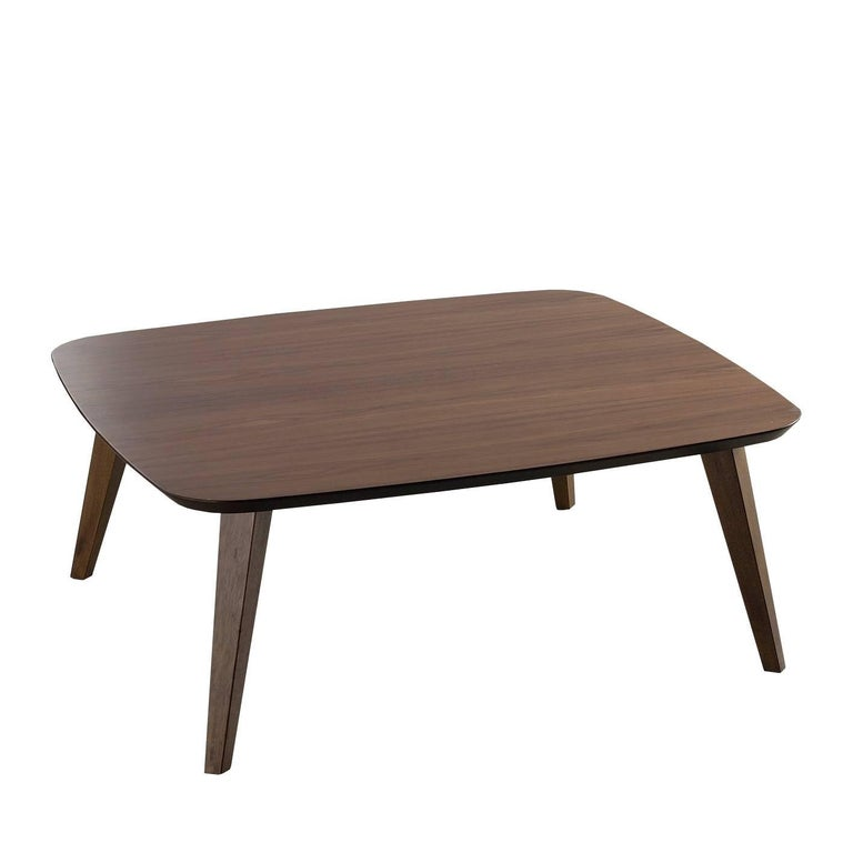 basic coffee table square wooden top with walnut veneer solid beechwood legs for sale at 1stdibs. Black Bedroom Furniture Sets. Home Design Ideas