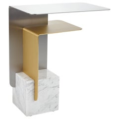 Riluc, Basic Side Table, Steel, Brass and Marble designed in 2016 by Toni Grilo