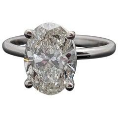 Classic Solitaire Platinum Oval Diamond Ring