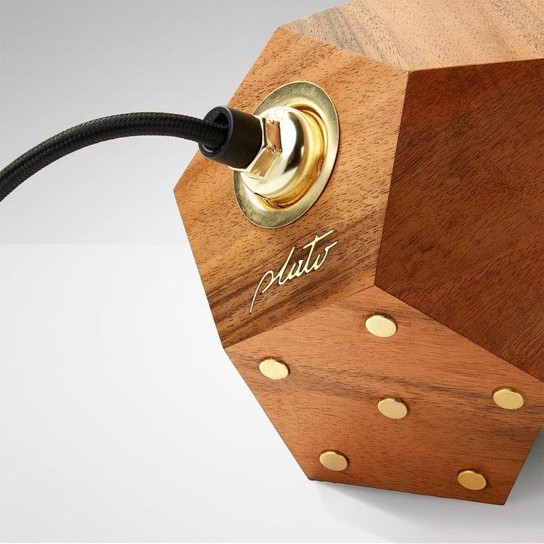 Italian Basic Twelve Duo Walnut Pendant Lamp by Plato Design For Sale