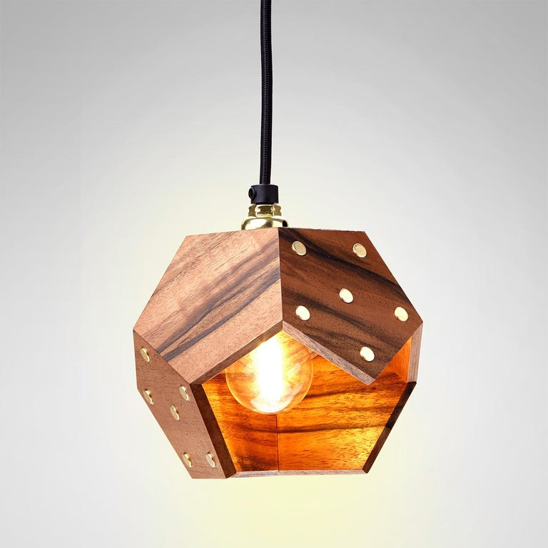 Italian Basic Twelve Solo Walnut Pendant Lamp by Plato Design For Sale