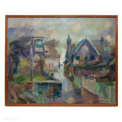 Basil Nubel Village in the Rain Abstract Impressionist
