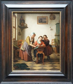The Lace Making Lesson - Belgian 19th century figurative interior oil painting