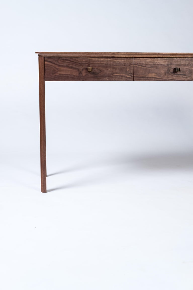 Basin Console Table in Walnut by Tretiak Works, Modern Contemporary Hall Sofa For Sale 3