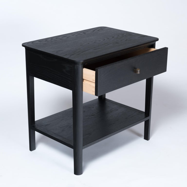 Hand-Crafted Basin Side Table Nightstand by Tretiak Works, Contemporary Wood Oak Nightstand For Sale