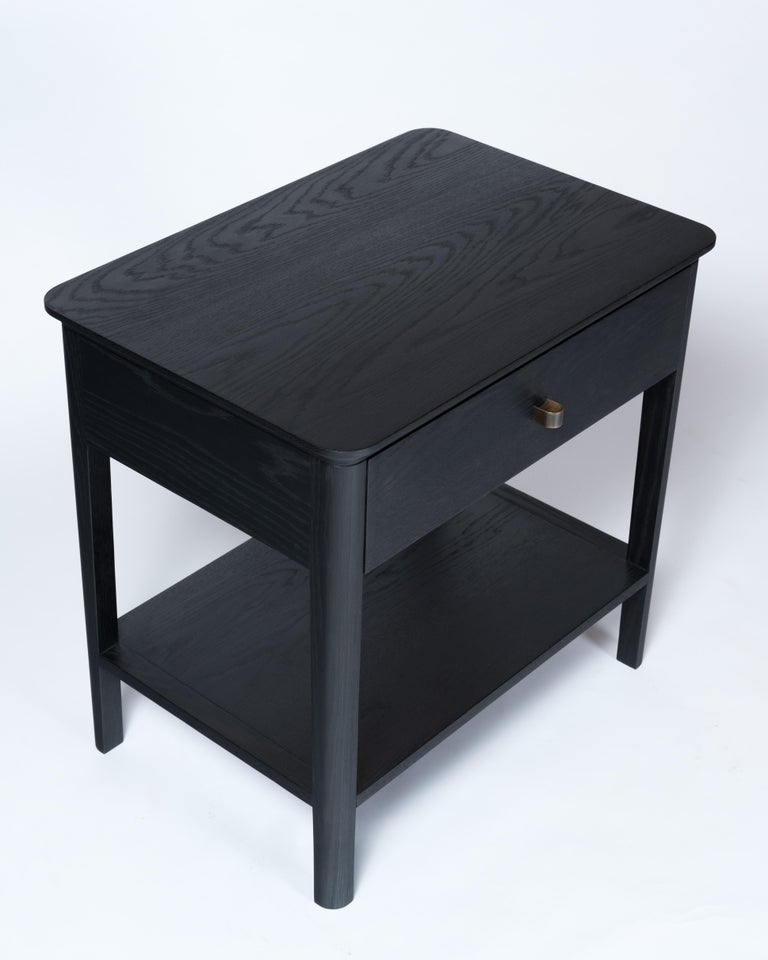 Basin Side Table Nightstand by Tretiak Works, Contemporary Wood Oak Nightstand In New Condition For Sale In Portland, OR