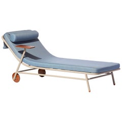 Bask Brazilian Contemporary Outdoor Metal Chaise Longue by Lattoog
