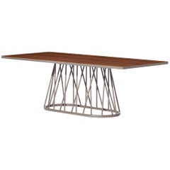Bask Brazilian Contemporary Outdoor Metal and Wood Dining Table by Lattoog