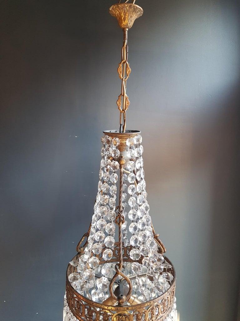 Basket Chandelier Brass Empire Crystal Lustre Ceiling Lamp Antique Art Nouveau For Sale 4