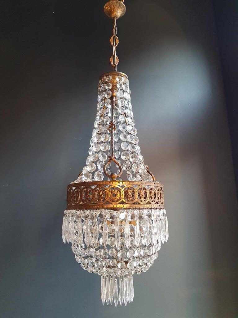 Basket Chandelier Brass Empire Crystal Lustre Ceiling Lamp Antique Art Nouveau For Sale 5