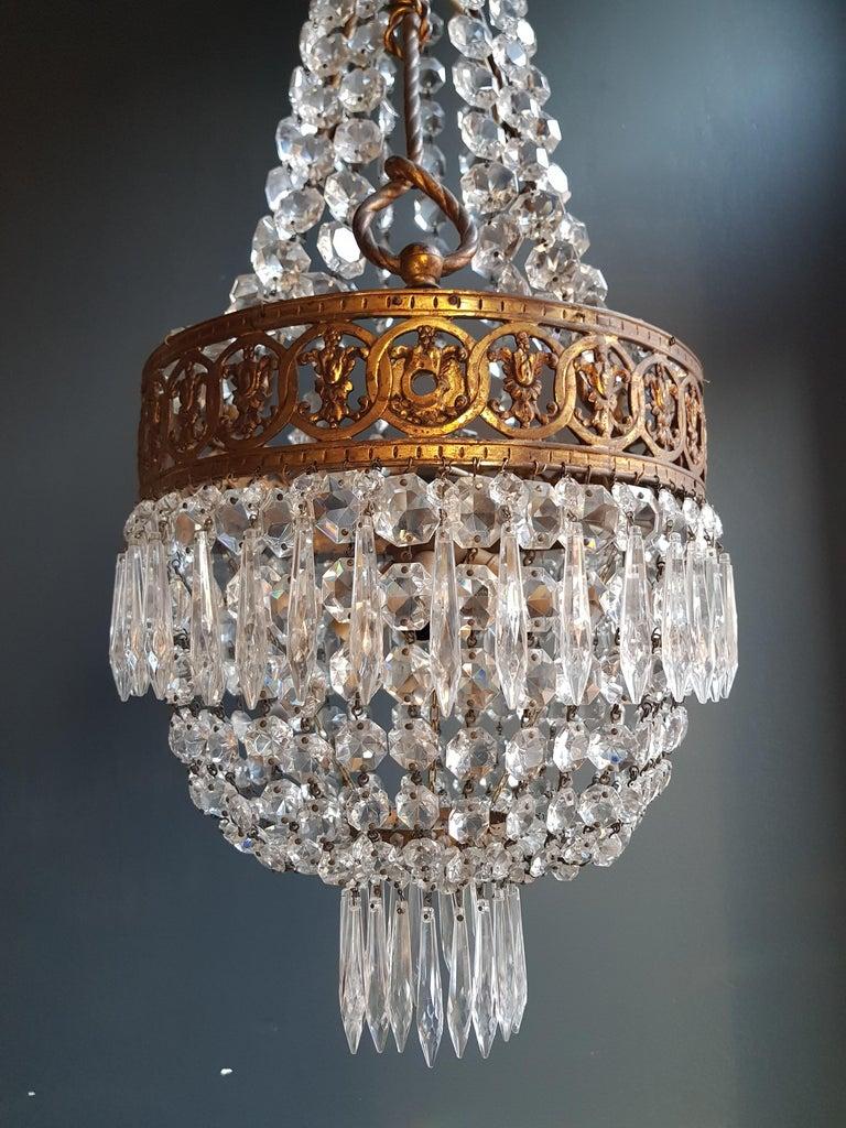 European Basket Chandelier Brass Empire Crystal Lustre Ceiling Lamp Antique Art Nouveau For Sale