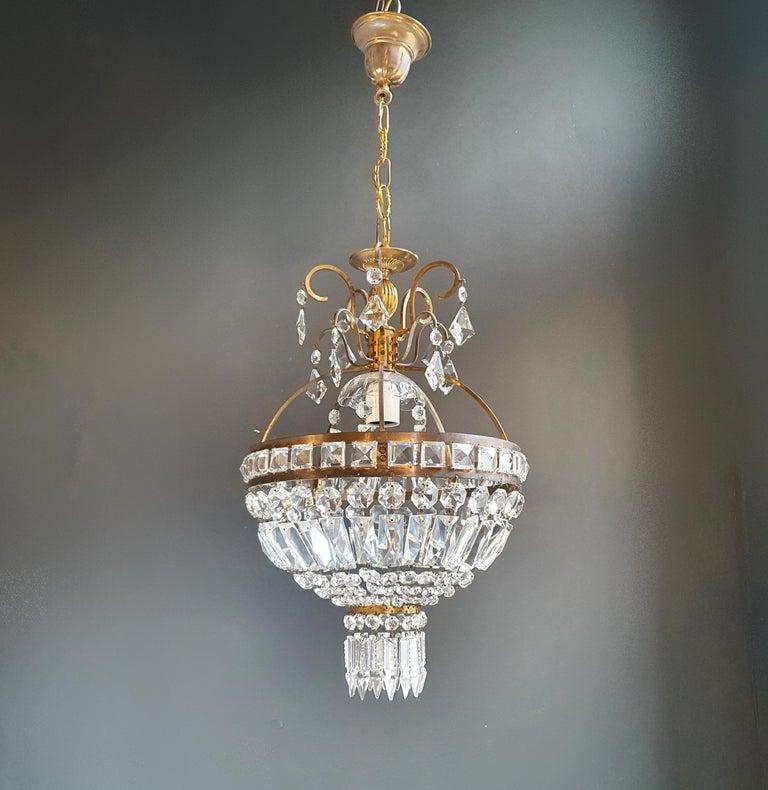 Hand-Knotted Basket Chandelier Brass Empire Crystal Lustre Ceiling Lamp Antique Art Nouveau For Sale