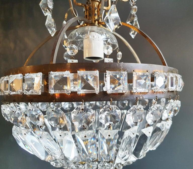 Basket Chandelier Brass Empire Crystal Lustre Ceiling Lamp Antique Art Nouveau In Good Condition For Sale In Berlin, DE