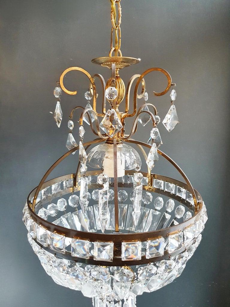 Mid-20th Century Basket Chandelier Brass Empire Crystal Lustre Ceiling Lamp Antique Art Nouveau For Sale