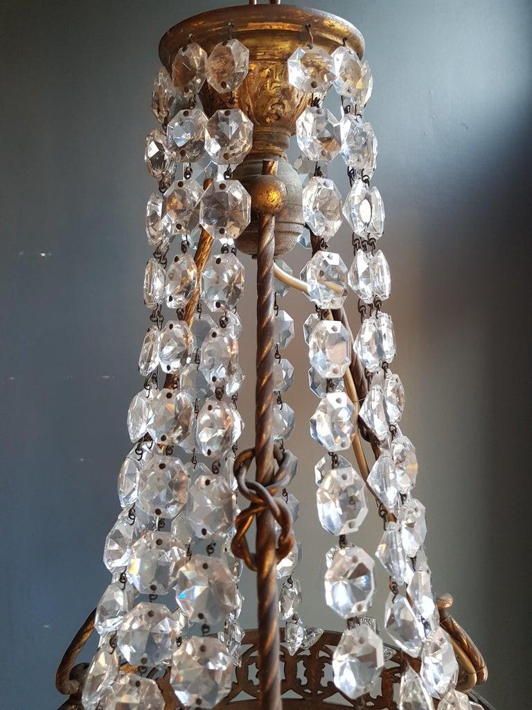 Basket Chandelier Brass Empire Crystal Lustre Ceiling Lamp Antique Art Nouveau For Sale 1