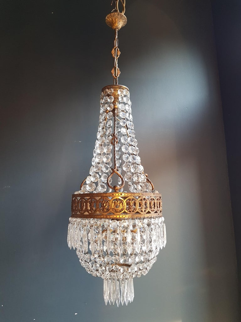 Basket Chandelier Brass Empire Crystal Lustre Ceiling Lamp Antique Art Nouveau For Sale 2