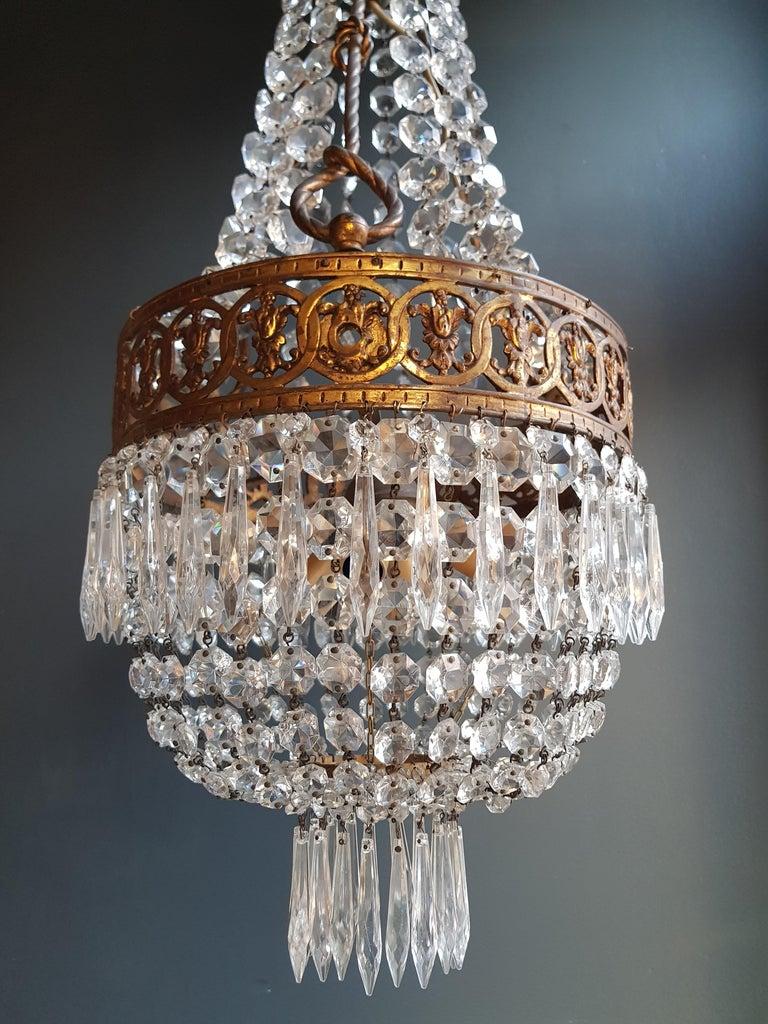 Basket Chandelier Brass Empire Crystal Lustre Ceiling Lamp Antique Art Nouveau For Sale 3