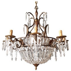 Korb Kronleuchter aus Messing und Kristall, Empirestil Deckenlampe, Antiker Jugendstil