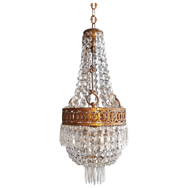 Basket Chandelier Brass Empire Crystal Lustre Ceiling Lamp Antique Art Nouveau