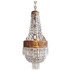 Basket Chandelier Brass Empire Crystal Lustre Ceiling Lamp Antique Art Nouveau
