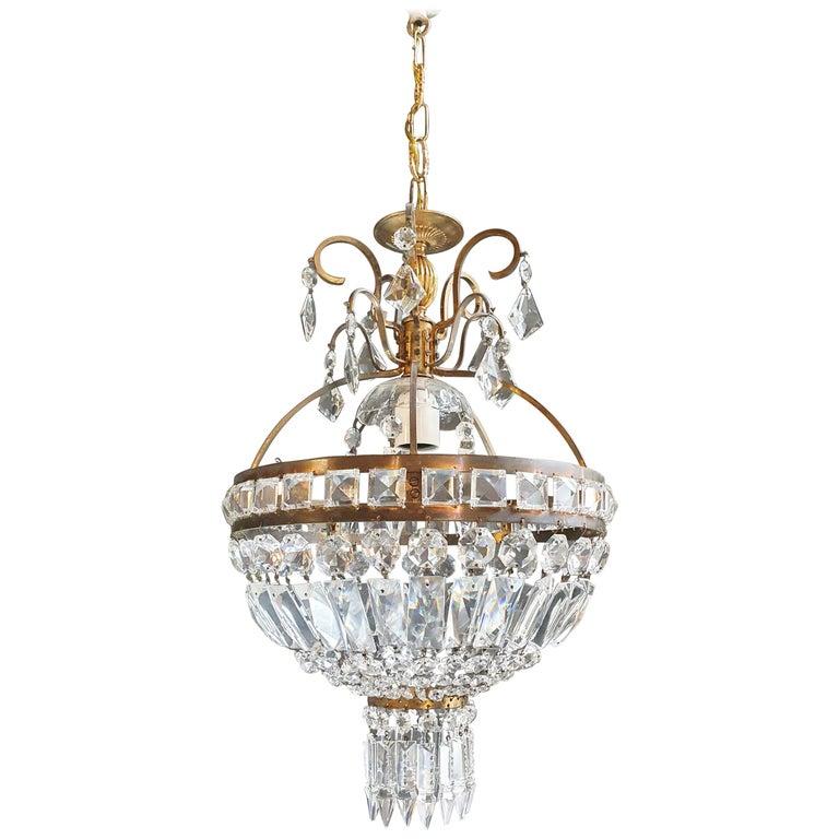 Basket Chandelier Brass Empire Crystal Lustre Ceiling Lamp Antique Art Nouveau For Sale