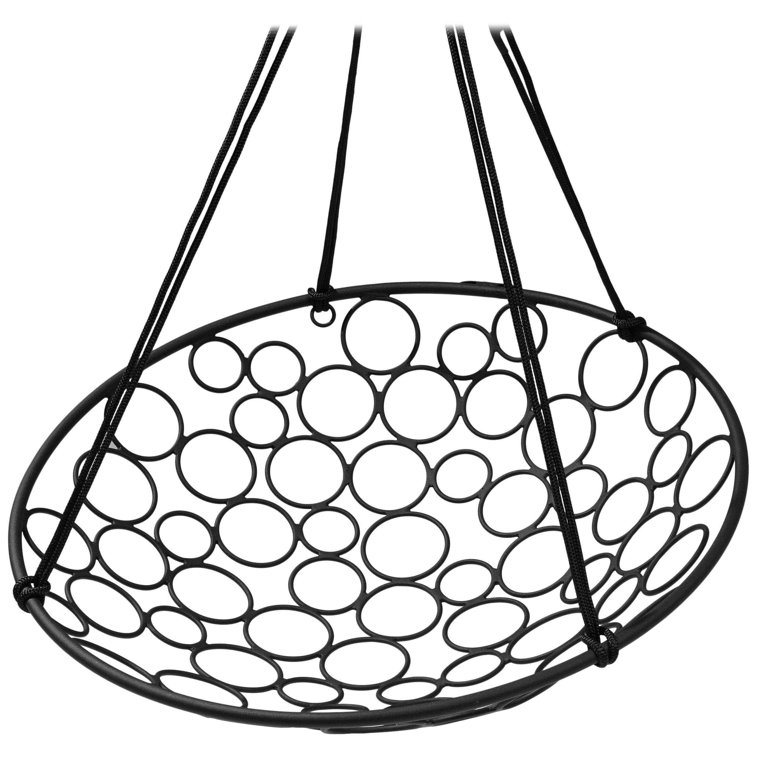 Basket Hanging Swing Chair Modern Steel 21st Century Circle In/Outdoor Black