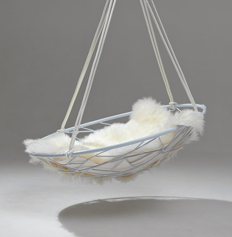 Basket Hanging Swing Chair Modern Steel 21st Century Twig In/Outdoor Black For Sale 4