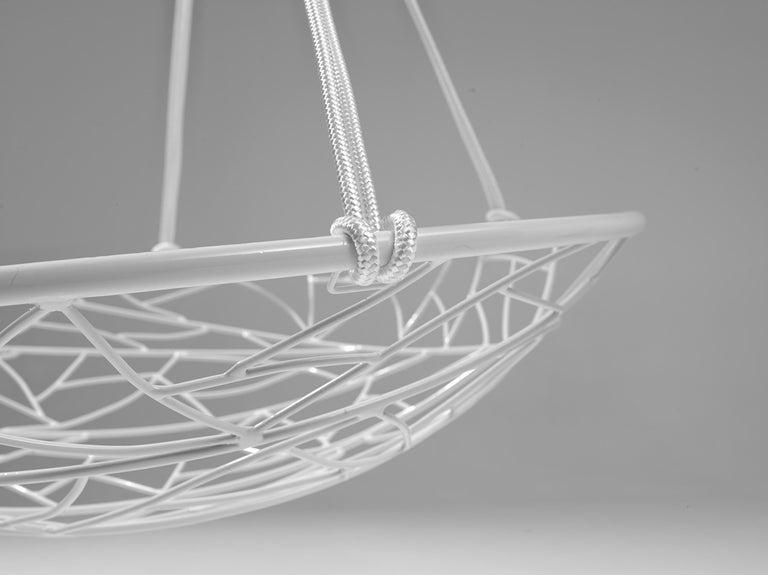 Basket Hanging Swing Chair Modern Steel 21st Century Twig In/Outdoor Black For Sale 5