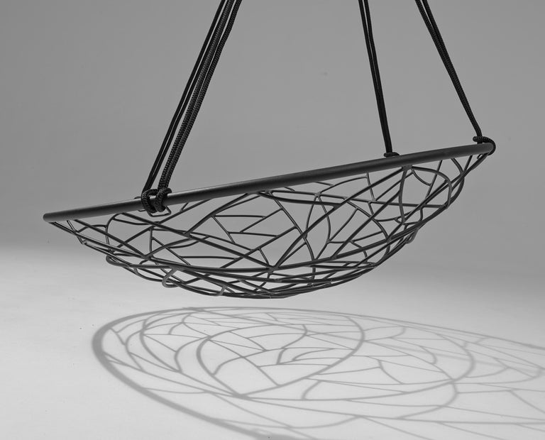 South African Basket Hanging Swing Chair Modern Steel 21st Century Twig In/Outdoor Black For Sale
